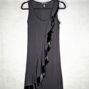 Black Stretchy Dress With Black Velvet Ruffle